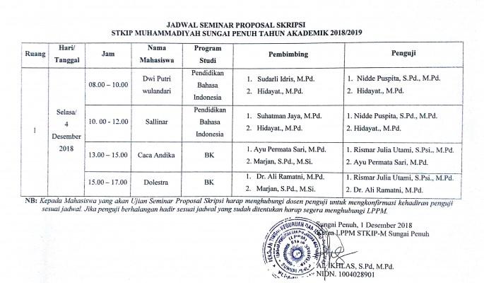 Info Seminar Proposal Skripsi Program studi Bimbingan Konseling dan Pendidikan Bahasa Indonesia