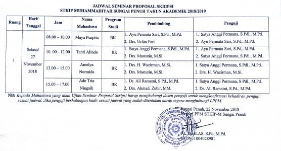 Info Seminar Proposal Skripsi Program Studi Bimbingan Konseling STKIP Muhammadiyah Sungai Penuh 27 November 2018